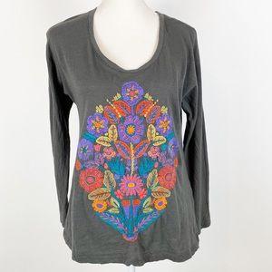 Embroidered Lucky Brand Long Sleeve Gray Tee Boho